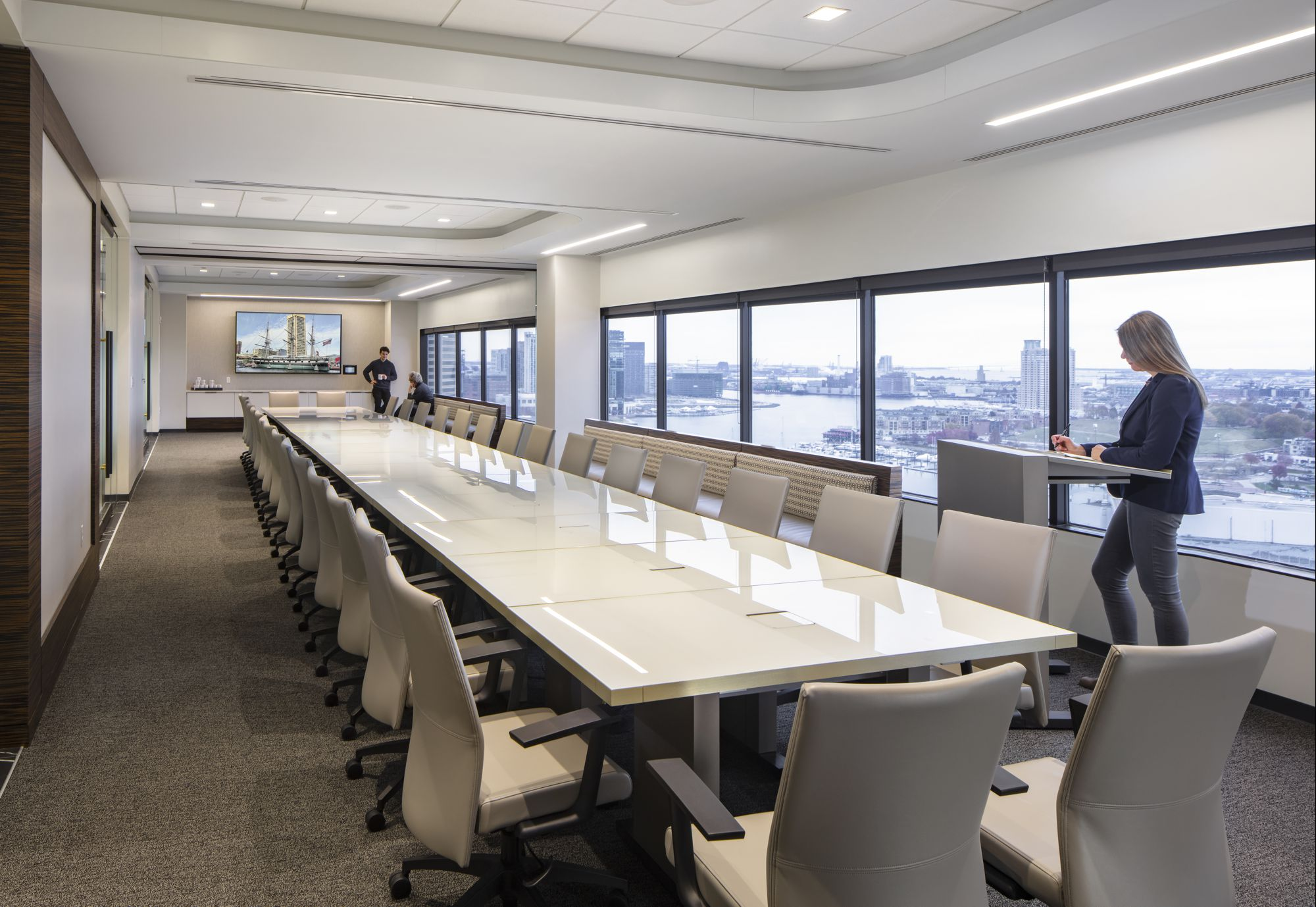 The large flexible conference room features an expansive view of the Baltimore harbor.