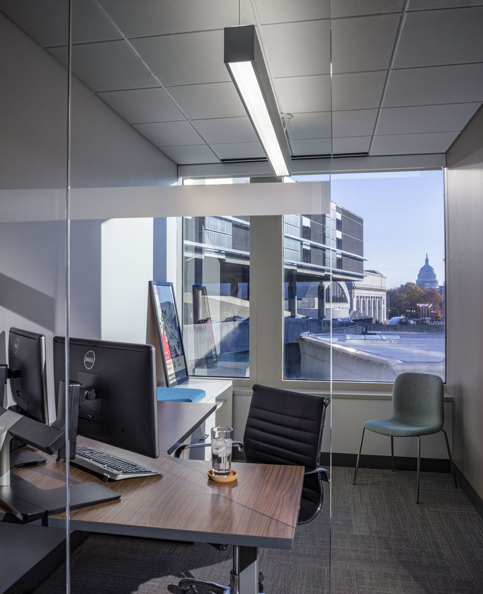 The offices have full glass fronts to allow maximum access to natural light, but offer unique Capitol views.