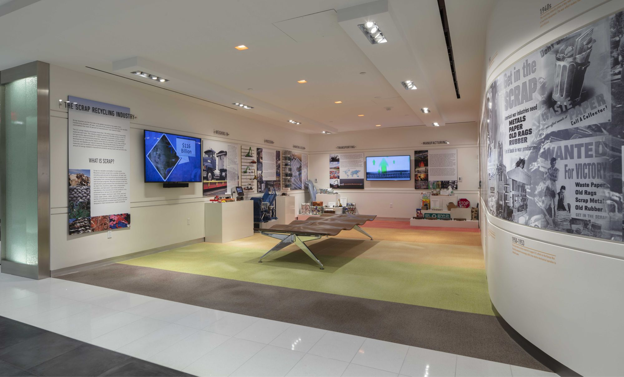 The plan welcomes visitors with a museum-style Education Center, rather than a traditional reception space.  Exhibits including models and video can be explored, as well as a custom historic timeline showing the history of recycling.