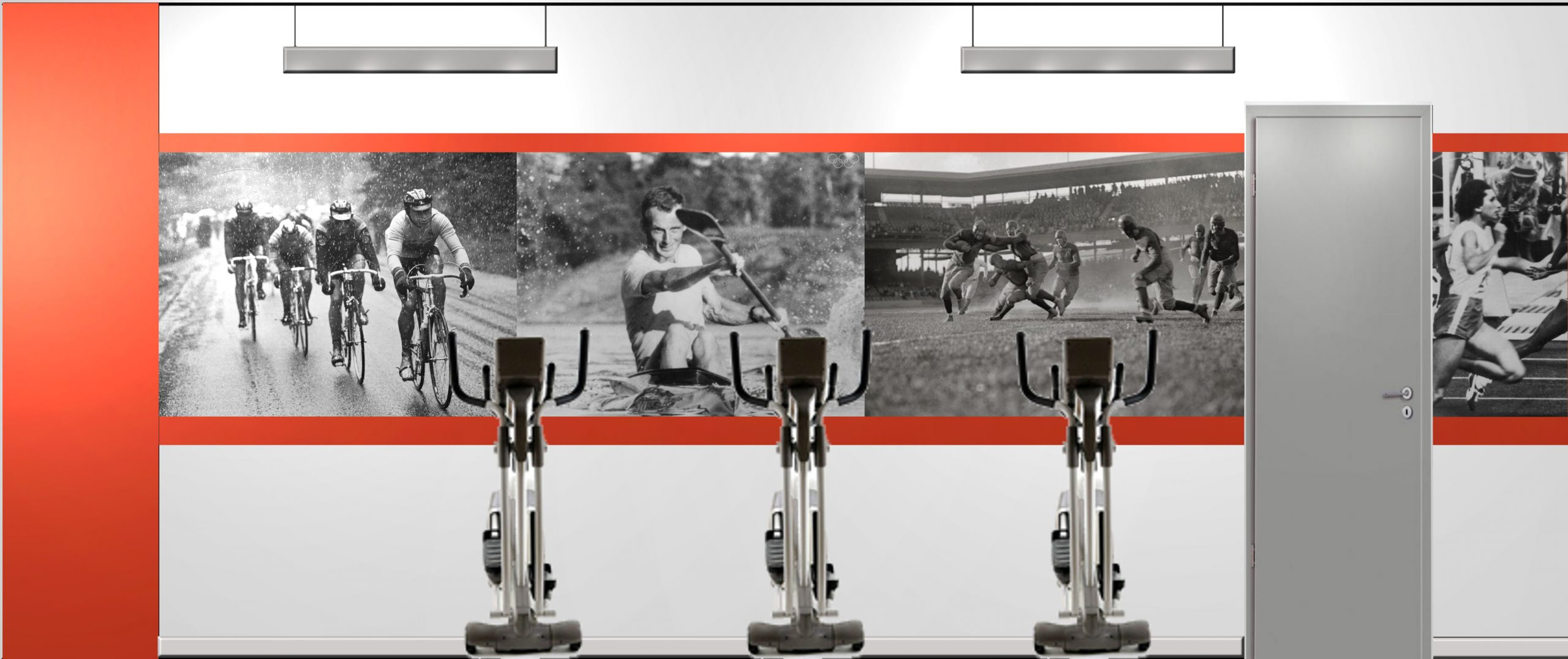 For a basement fitness center, we used large scale images of fitness and sport activities to bring interest to a windowless space.
