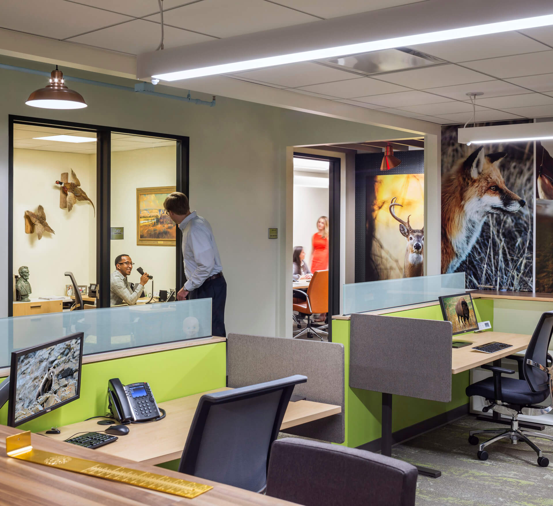 Custom graphics throughout the space create immersive elements that add layers to the story of this office. The project also incorporated adjustable height desks for all offices.